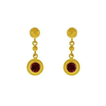 24k Yellow Gold Garnet Earrings