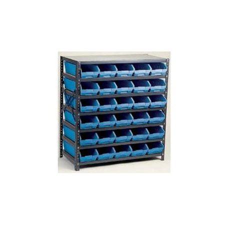 Bin Shelving,Solid,36X12,72 Bins,Blue QUANTUM STORAGE SYSTEMS 1239-100BL
