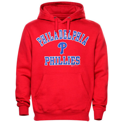 Mens Philadelphia Phillies Stitches Red Fastball Fleece Pullover Hoodie