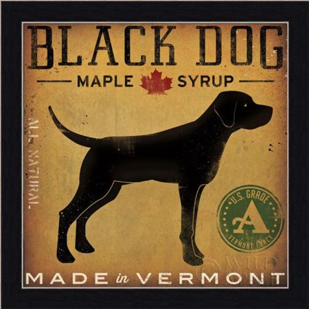 buyartforless Framed  Black Dog Maple Syrup By Ryan Fowler Signs Dogs Black Labrador Animals Art Print poster, 12 X - Low Back Animal Print