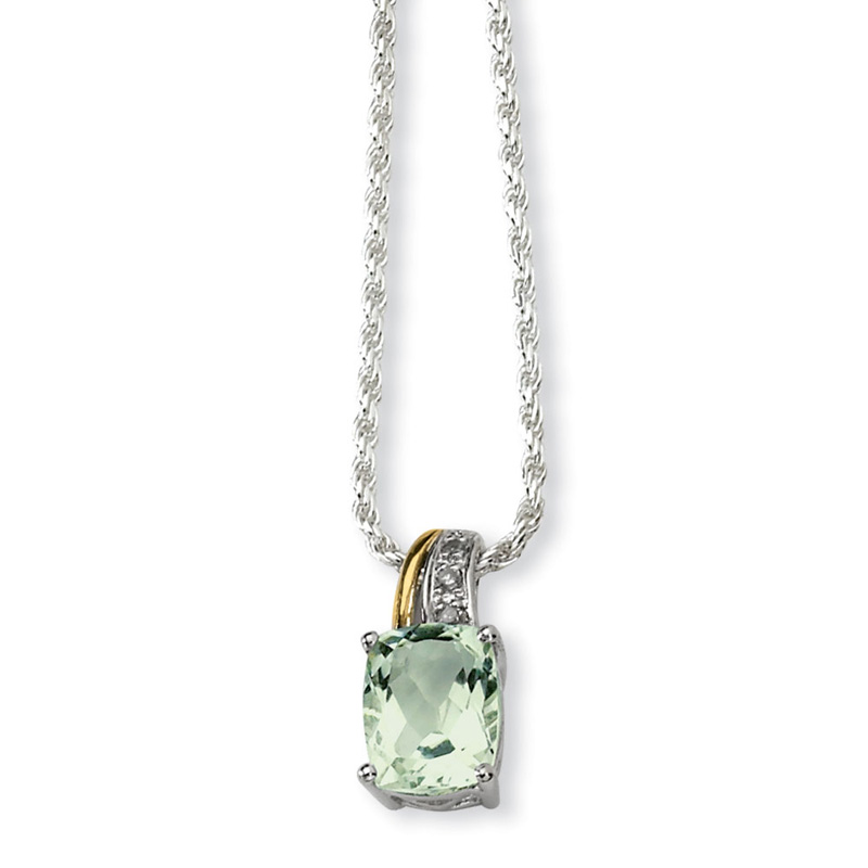 Sterling Silver & 14K Yellow Gold 17in Green Amethyst and Diamond Necklace by Kevin Jewelers