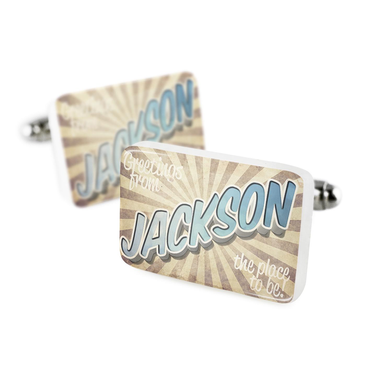Cufflinks Greetings from Jackson, Vintage PostcardPorcelain Ceramic NEONBLOND