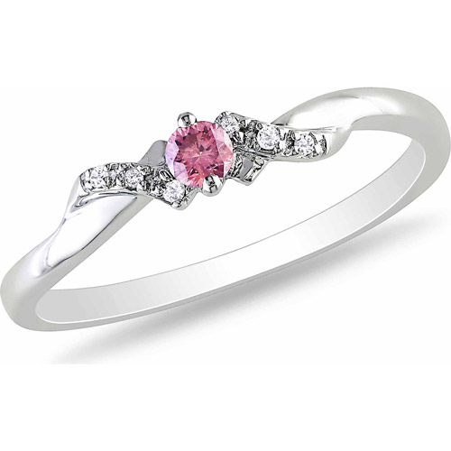 Pink and White Diamond Accent Sterling Silver Promise Ring