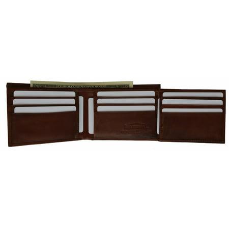 Bifold Cowhide Leather Wallet Outside Flap ID Card Holder 92 CF - Cowhide Flap