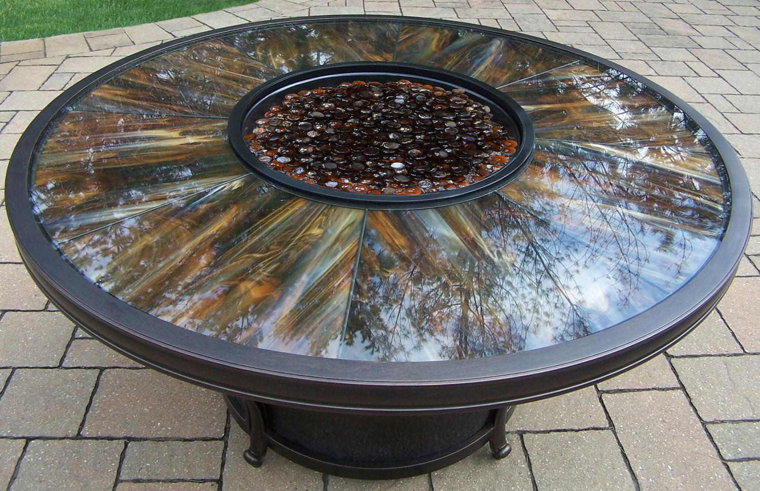 48� Aluminum Rustic Antique Bronze Finish Round Gas Patio Firepit Table by CC Outdoor Living