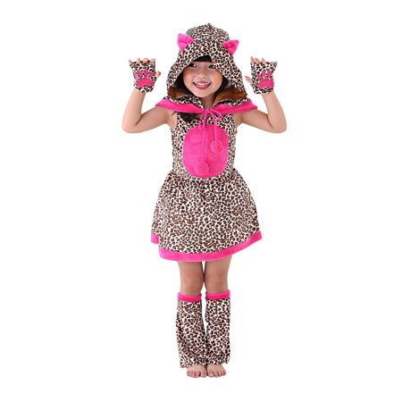 So Sydney Kids, Toddler, Girls' Deluxe Hot Pink Leopard or Cheetah Halloween Costume or Outfit