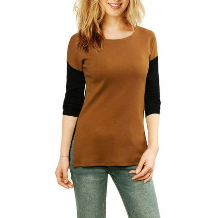 Unique Bargains Women Color Block Side-Slit Paneled Slim Fit Ribbed Top Brown S - image 2 of 5
