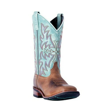 Laredo Women's Anita Brown/Blue Cowgirl Boot Square Toe - 5607](Light Up Cowgirl Boots)