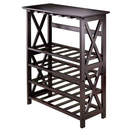Winsome Wood Rio Display Wine Rack with Glass Hanger X Panel, Espresso Finish