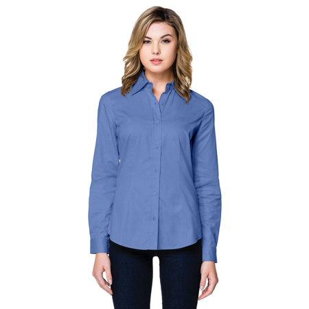 Tri-Mountain Women's Flattering Fit Two Button Woven Shirt (Tailor Fit Woven Shirt)