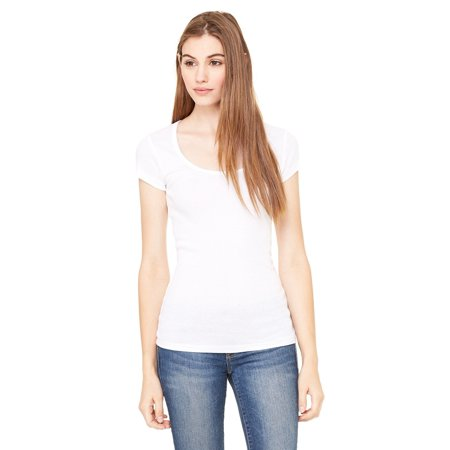 Branded Bella + Canvas Ladies Sheer Mini Rib Short Sleeve Scoop Neck T-Shirt - WHITE - M (Instant Saving 5% & more on min 2)
