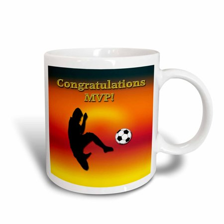 3dRose Congratulations MVP, Most Valuable Player, Boy with Soccer Ball , Ceramic Mug, 11-ounce