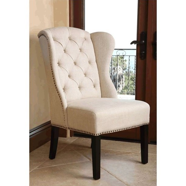 Abbyson Kyrra Tufted Linen Wingback Dining Chair In Cream Walmart Com Walmart Com