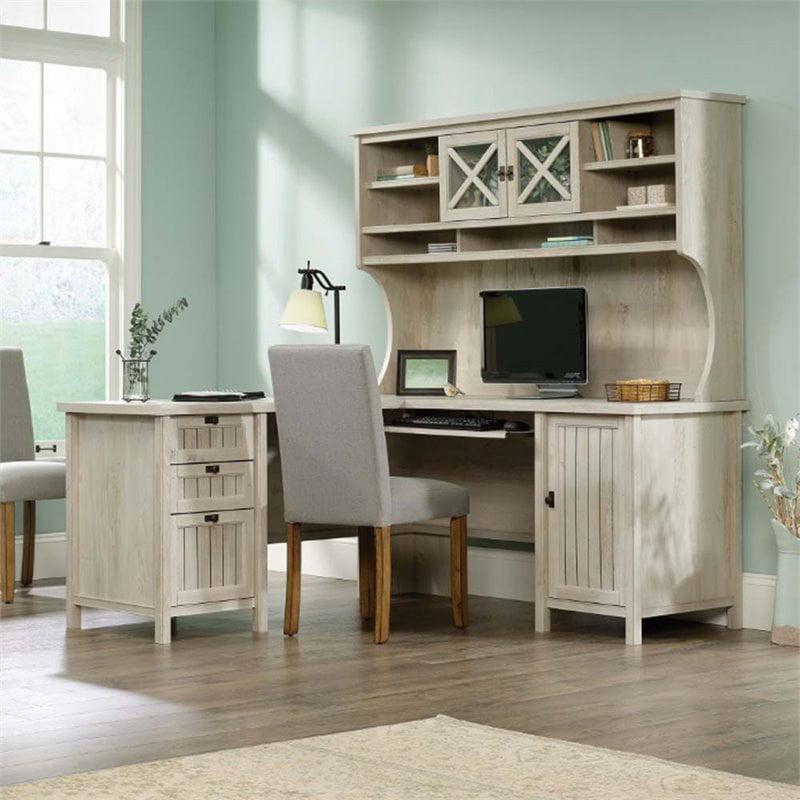 Sauder Costa L Shaped Computer Desk, Sauder Antique White Desk With Hutch