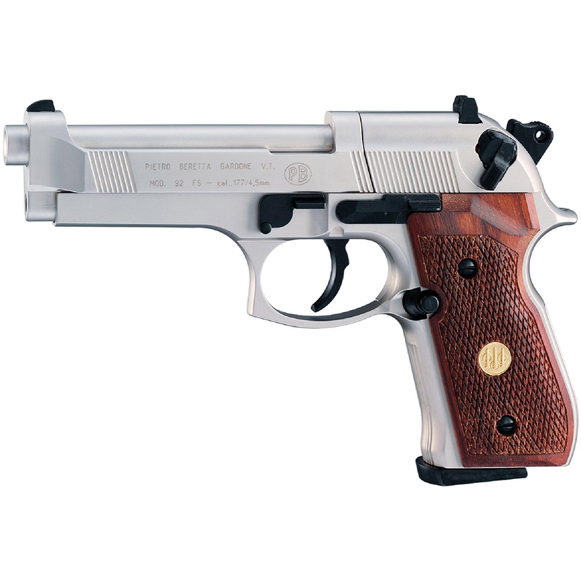 Click here to buy Beretta M 92 FS Air Gun, 8 Shot Rotary, Nickel Wood by Umarex.