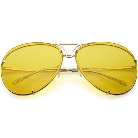 Oversize Rimless Aviator Sunglasses Unique Double Crossbar Color Tinted Lens 69mm (Gold / (Blue Tinted Aviators)