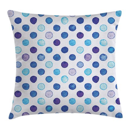 Watercolor Decor Throw Pillow Cushion Cover, Vintage Polka Dots Motif with Different Shades on Blue Tones Soft Funky Artwork, Decorative Square Accent Pillow Case, 18 X 18 Inches, Multi, by Ambesonne