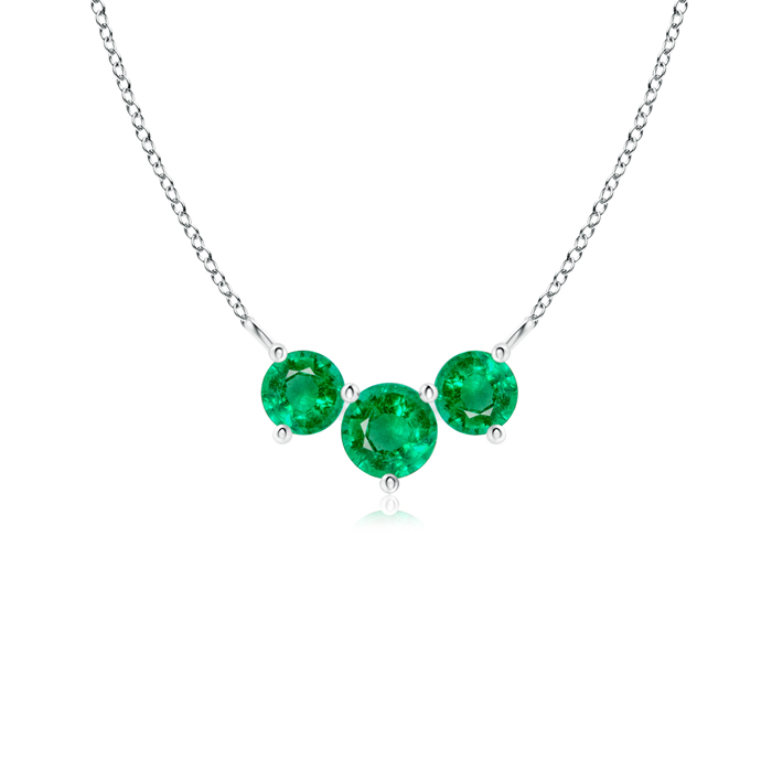 May Birthstone Pendant Necklaces Classic Trio Emerald Necklace Past Present Future in 950 Platinum (4mm Emerald)... by Angara.com