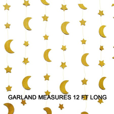 Gold Glittery Moon And Star Garland Banner Nursery Decoration Twinkle Twinkle Little Star Sparkling 12 Ft Party Supplies Background Decor. Great For Parties, Birthdays, Holidays, Baby Showers And More