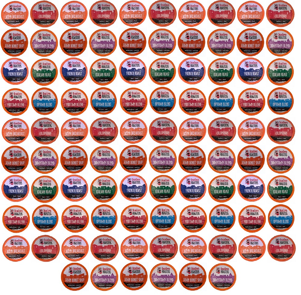 "96 Count Variety Pack for Coffee Lovers 8 Coffees ""No Decaf, No Flavors"" Beantown Roasters K-Cups for Keurig"