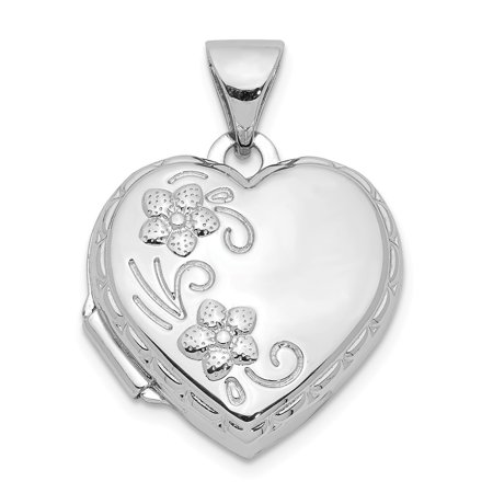 Mia Diamonds 925 Sterling Silver Rhodium-Plated 15mm Floral Heart Locket