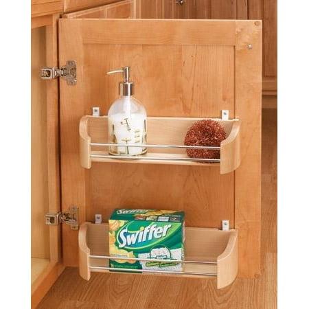 """Rev-A-Shelf 4231-14-52 14"""" Wood Door Storage Tray W/Screw in Clips - Wood/Wire"""
