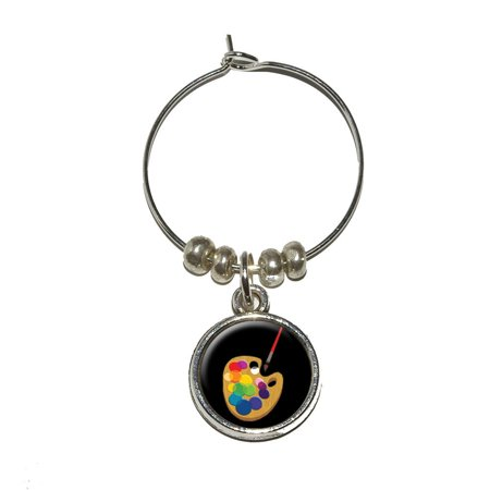 Painters Palette Black - Artist Painting Wine Glass Charm