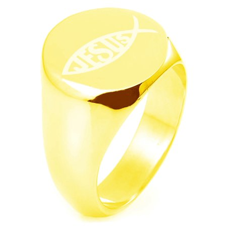 Gold Plated Sterling Silver Ichthus Jesus Fish Symbol Engraved Round Flat Top Polished Ring ()