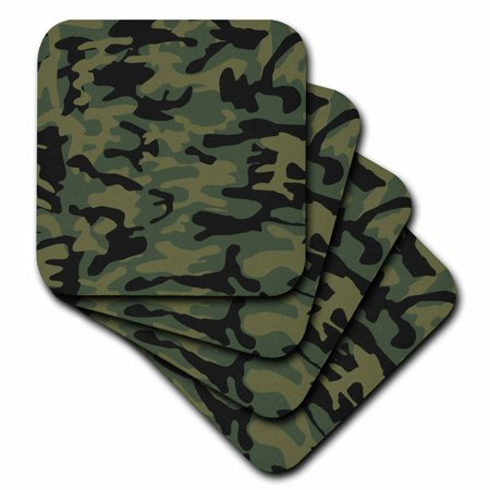 3dRose Dark green camo print - hunting hunter or army soldier uniform style camouflage woodland pattern, Soft Coasters, set of 4