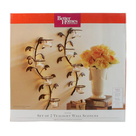 Better Homes and Gardens Vine and Leaf Tealight Wall Sconces, Set of 2](Deco Wall Sconces)