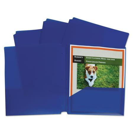 C-Line Two-Pocket Heavyweight Poly Portfolio Folder, 3-Hole Punch, Letter, Blue, 25/Box -CLI32935 - Blue Punch