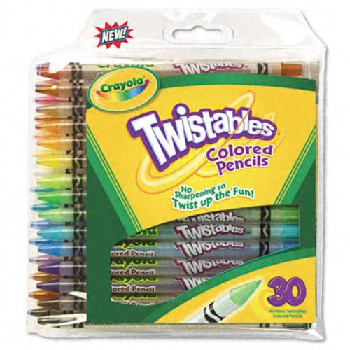 Crayola Twistables 687409 Colored Pencil With Pouch - Assorted Lead - Clear Barrel - 30 / Pack