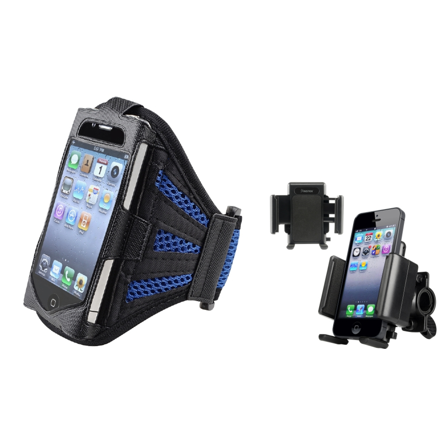 Insten Sport Combo Bicycle Holder+BLACK BLUE RUNNING GYM ARMBAND CASE FOR iPhone 4 4S