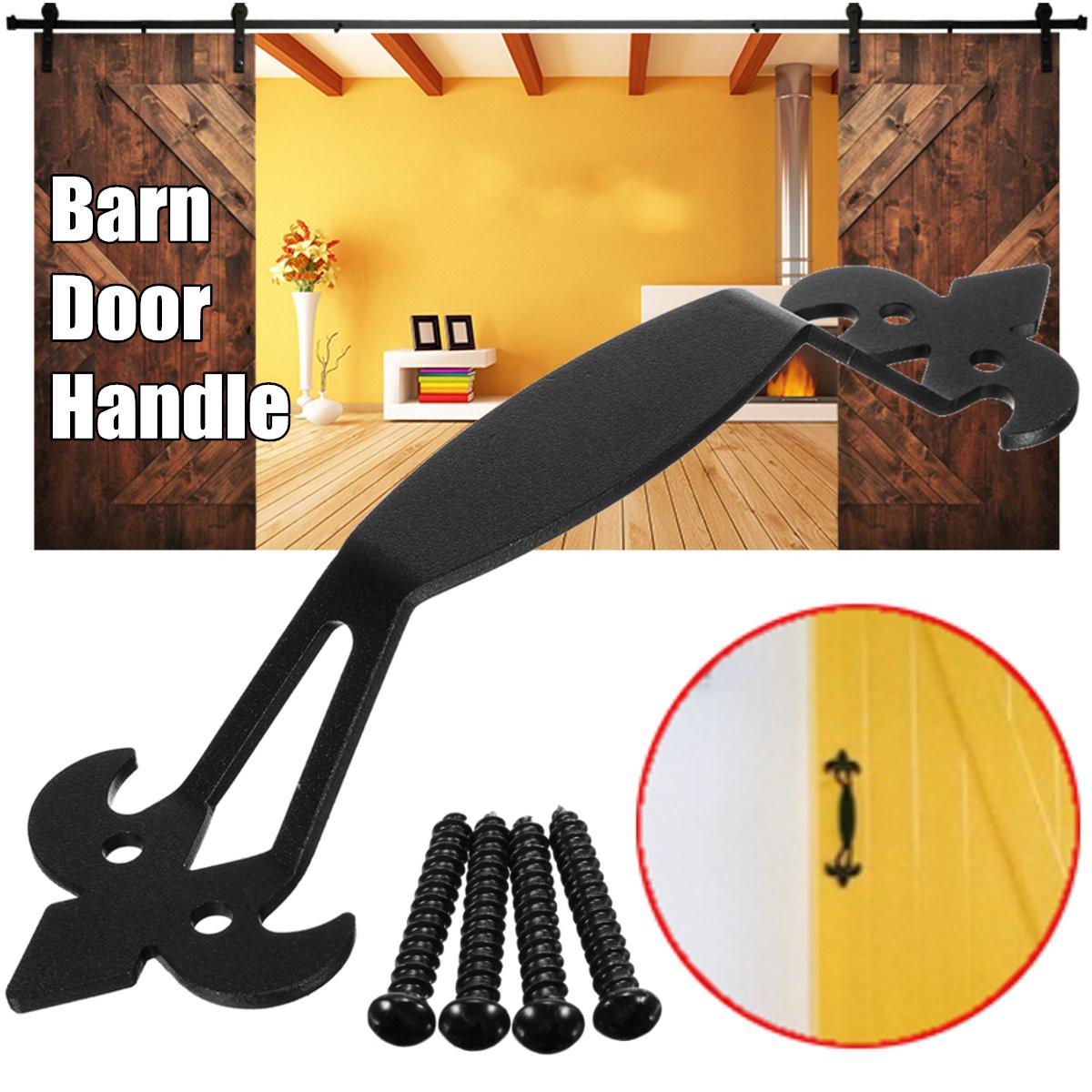 11'' Steel Slide Barn Door Gate Handle Black Hardware Powder Coated + Screws 280*45mm