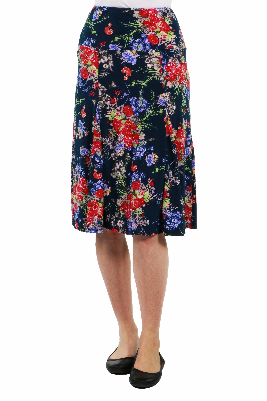 24seven Comfort Apparel Tokyo Garden Blue Floral Flared Knee Length Skirt by 24/7 Comfort Apparel