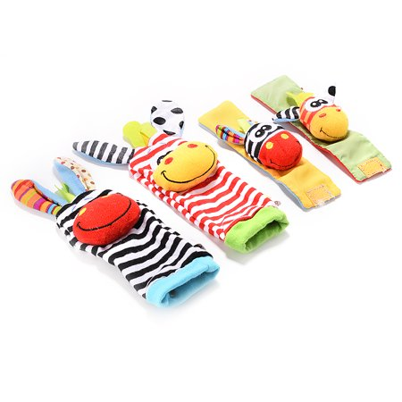 4 x Newest Wrist Rattles Hands Foots finders Baby Infant Soft Toy Developmental by lanlan - image 1 of 7