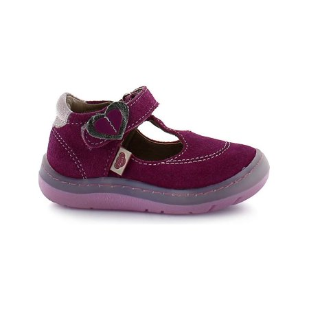 Rilo Little Girls Gamuza Pink Heart Buckle T-Bar Bootie Shoes