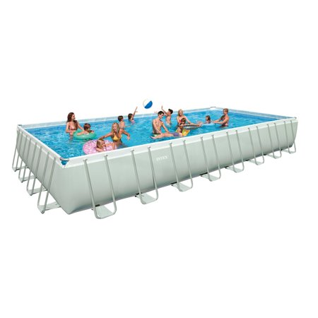 Intex 32 x 16 x 4.3 Foot Ultra Frame Rectangular Pool Set w/ Pump ...