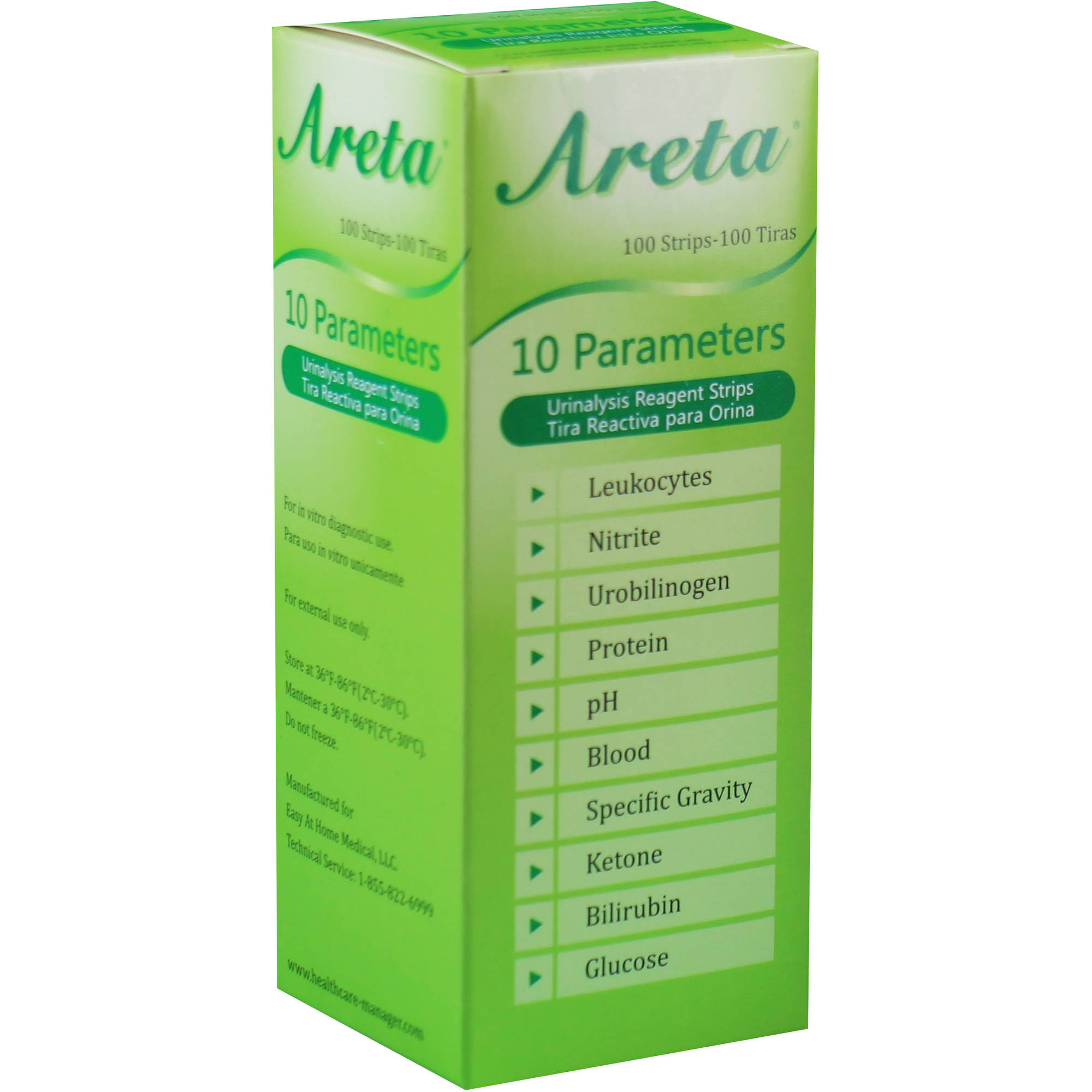 Areta 10 Parameter Urinalysis Reagent Test Strips, 100 Ct