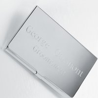 Personalized Silver Business Card Case