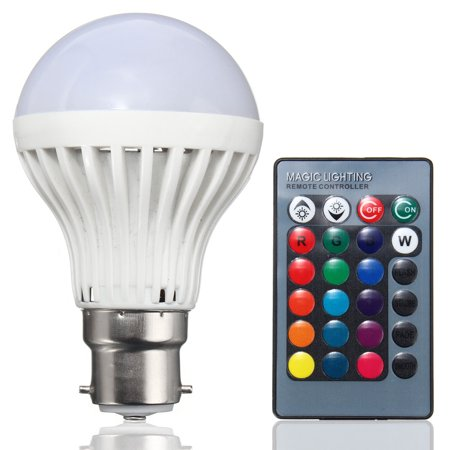 3W RGB B22 LED Night Light Bulb with 24-Key Remote Controller 16 Multicolor Color Changing for Party Home Bar (Lighted Controller)