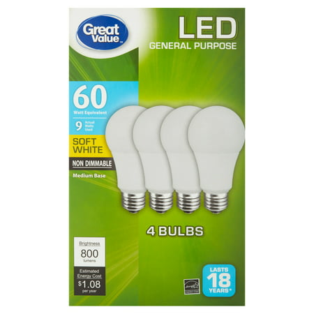 Great Value LED Light Bulb, 9W (60W Equivalent) A19 Lamp E26 Medium Base, Non-Dimmable, Soft White, 4-Pack