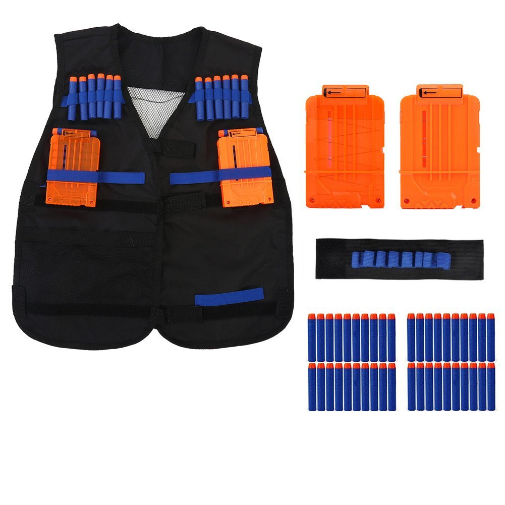 Tactical Vest with 2pcs darts clips,1pcs wristband and 40pcs foam bullets ,Kids Elite Tactical Vest Kit For Gun N-strike Elite Series