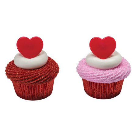 Red Heart Valentine Day's Hearts Cupcake Rings - 24 Count](Valentine Cupcake)