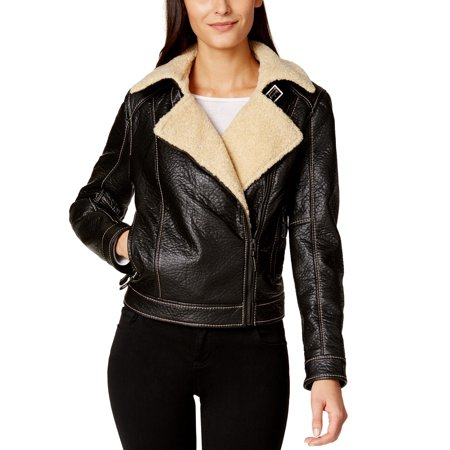Shearling Leather Coat - Studio M NEW Black Women's Small S Faux Leather Shearling Moto Jacket