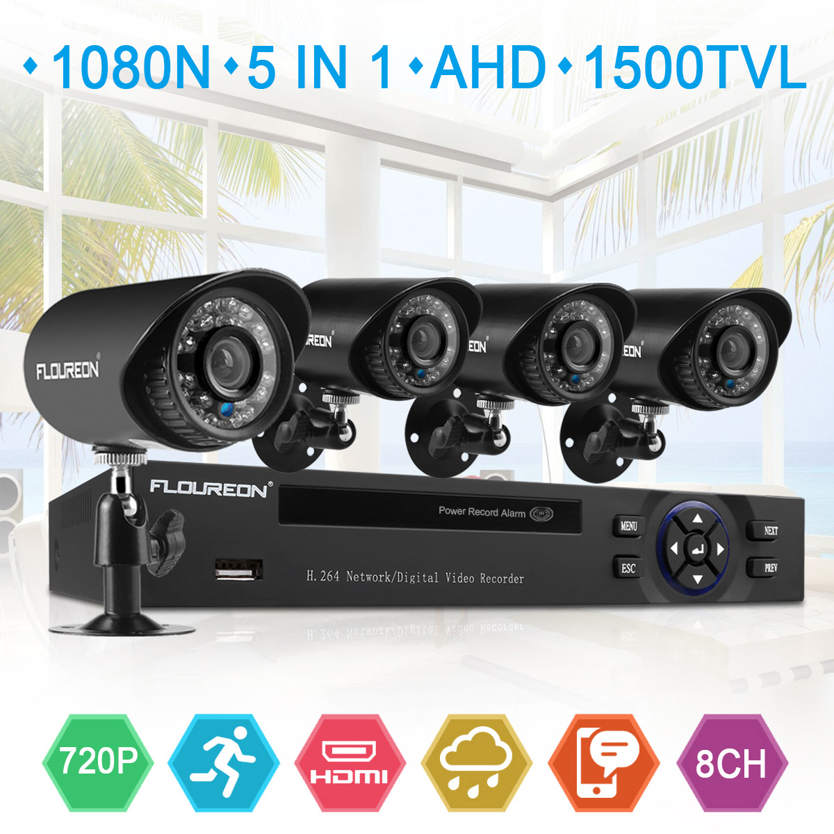 Floureon 8-Channel HD 1080N Security Camera System DVR and (4) 1.0MP Indoor/Outdoor Weatherproof Bullet Cameras with IR Night Vision LEDs, Remote Access (No HDD)