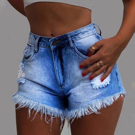 High Waisted Short Mini Jeans Ripped Jeans Shorts Pants Shorts Dark Denim