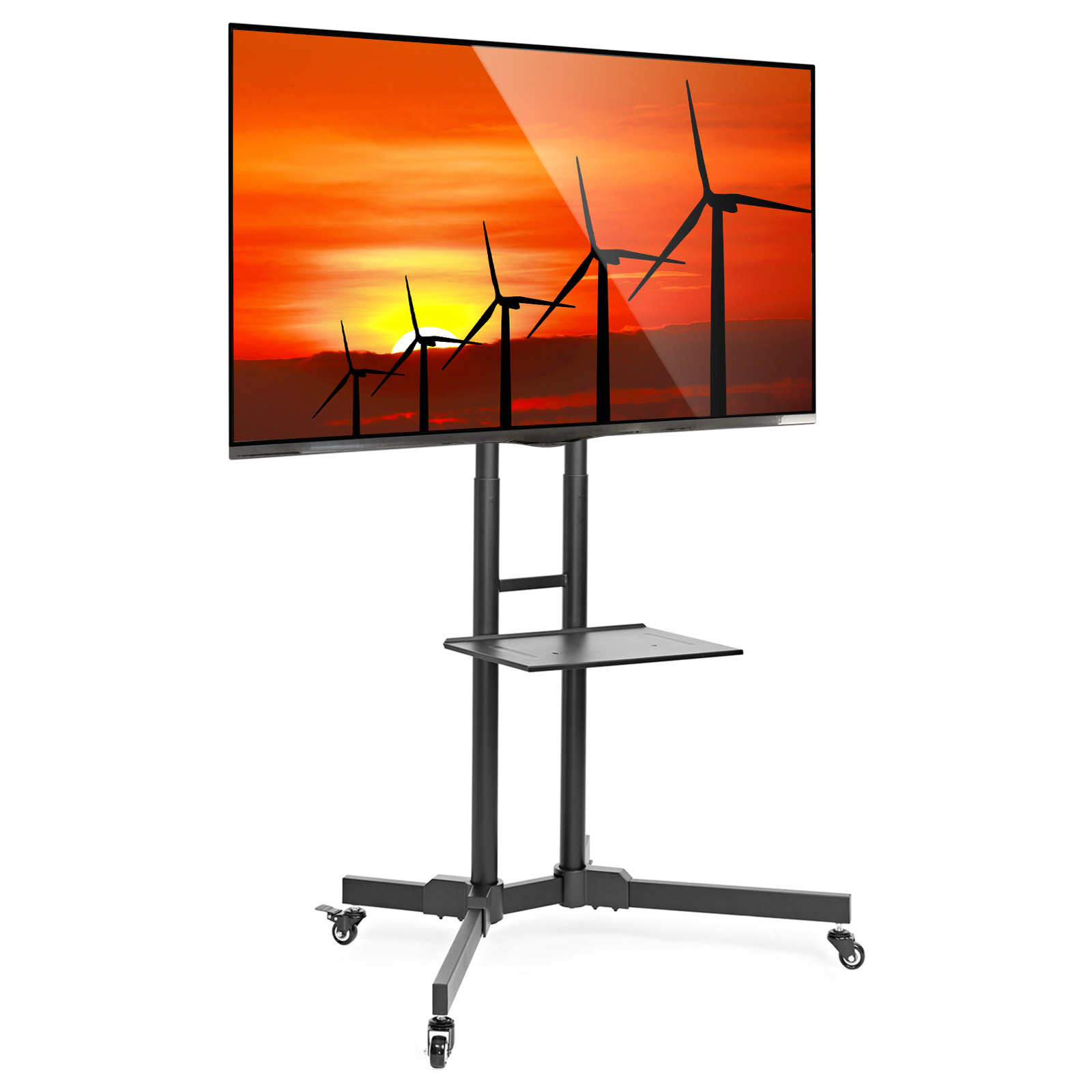 Mount Factory Rolling Tv Stand Mobile Tv Cart For 32 65 Inch Plasma