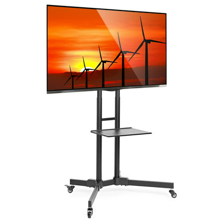 Mount Factory Rolling TV Stand Mobile TV Cart for 32-65 inch Plasma Screen, LED, LCD, OLED, Curved TV's - Universal Mount with Wheels