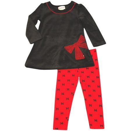 Flapdoodles - Little Girls Striped Long Sleeve Pant Set BLACK RED VELOUR / 4 Stripe Long Lounger